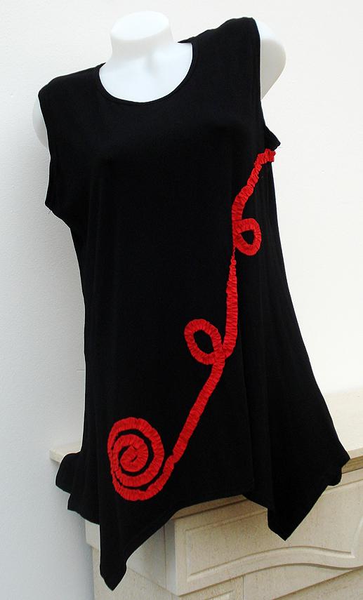 tunika mit bolero j ckchen schwarz rot new york gr 40 50. Black Bedroom Furniture Sets. Home Design Ideas